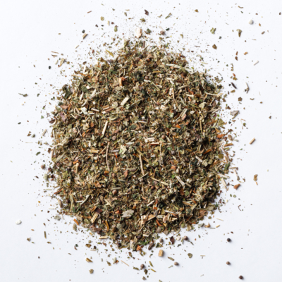 flash dance menopause loose leaf herbal tea blend of sage, vitex, mugwort, lemon balm, bugleweed, motherwort