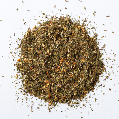 digestive tea loose leaf herbal blend of orange peel, spearmint, peppermint, lemon balm, fennel seed