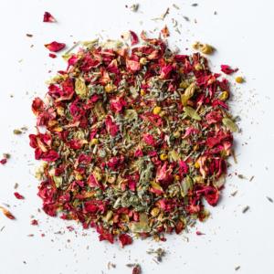 dream time sleep blend loose leaf herb with rose petals, chamomile, lavender, mugwort, california poppy