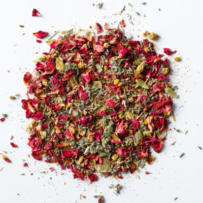 dream time sleep blend loose leaf herb with rose petals, chamomile, lavender, mugwort, california poppy