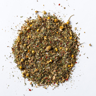 kick that cold loose leaf herbal blend of chamomile, peppermint, lemon balm, elder flower, yarrow, boneset, echinacea