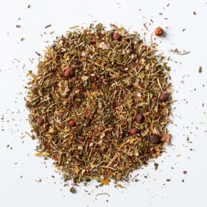 brain booster loose leaf herbal blend of rooibos, hawthorn, peppermint, rosemary, rosehips, ginkgo, gotu kola
