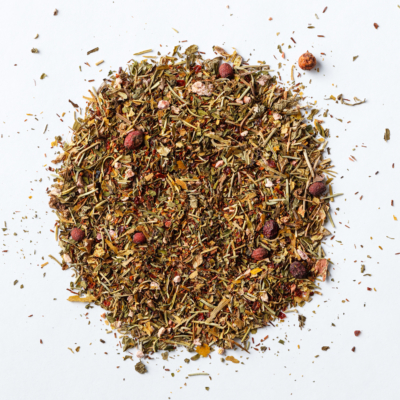 brain booster loose leaf herbal blend of rooibos, hawthorn, peppermint, rosemary, rosehips, ginkgo, gotu kola
