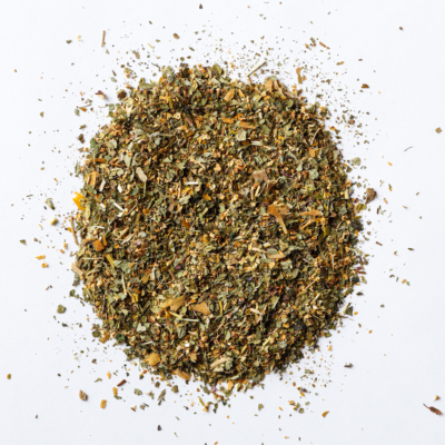 allergy slayer loose leaf herbal tea blend of elder flower, nettle, ginkgo, lemon balm