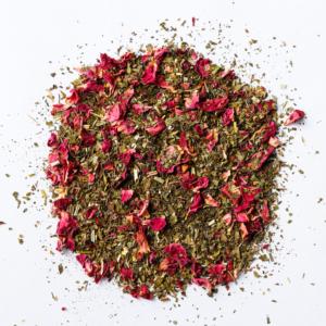 stress finesse loose leaf herbal blend of rose petals, skullcap, peppermint, lemon balm