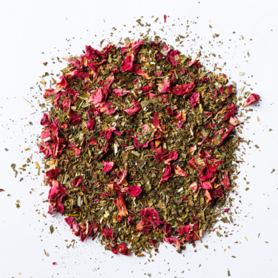 stress finesse loose leaf herbal blend of rose petals, skullcap, peppermint, lemon balm