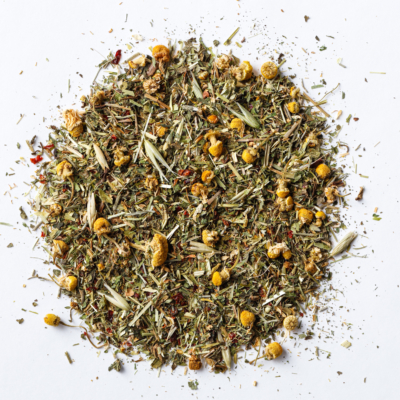 unwind the mind loose leaf herbal tea blend of chamomile, oat tops, alfalfa, nettle, rosehips